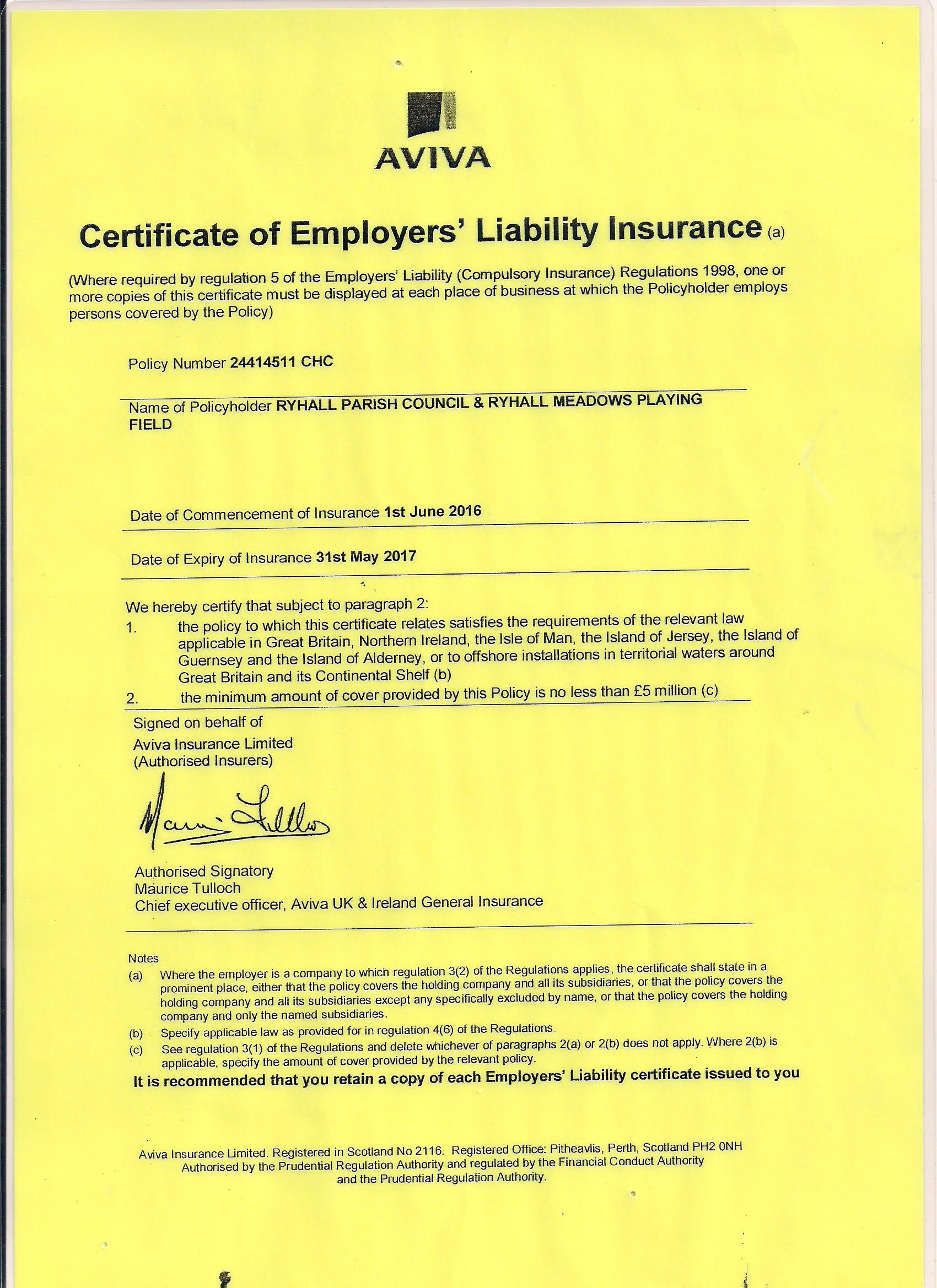 Certificate of Employers Liability 2016 001